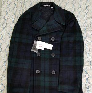 Uniqlo JW Anderson Wool Peacoat Green Blue Plaid